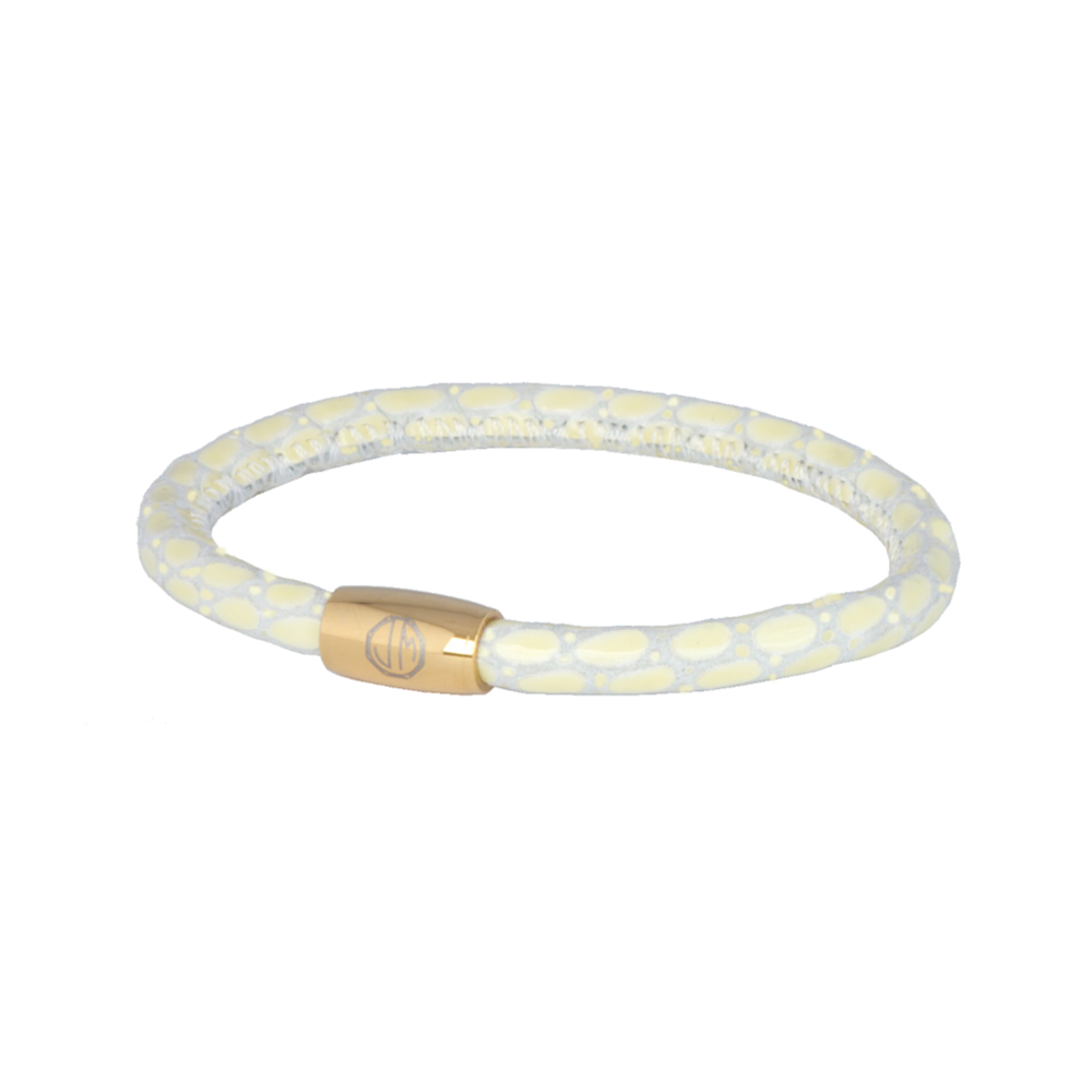 21a8057deb1c Cream Lizard Leather Bracelet