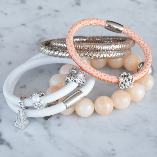 Peach Bracelets Collection and Silver Charms