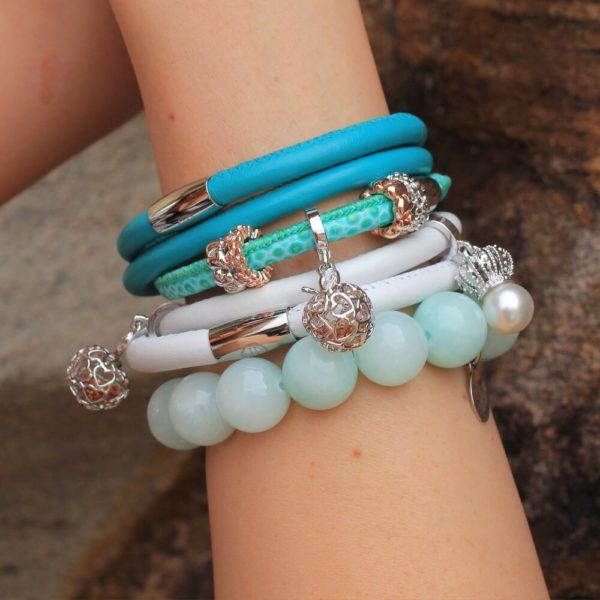 Silver Apple Charm with Turquoise Bracelets
