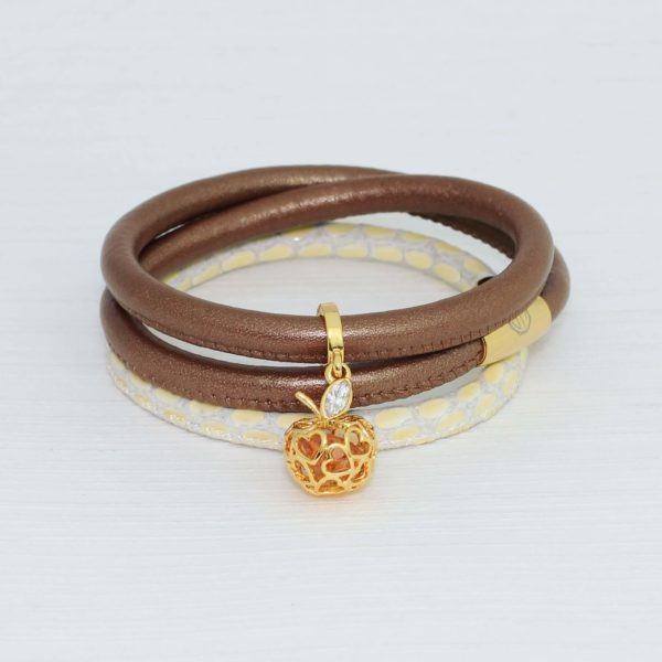 Love Apple Gold Charm with our Bronze Leather Bracelet