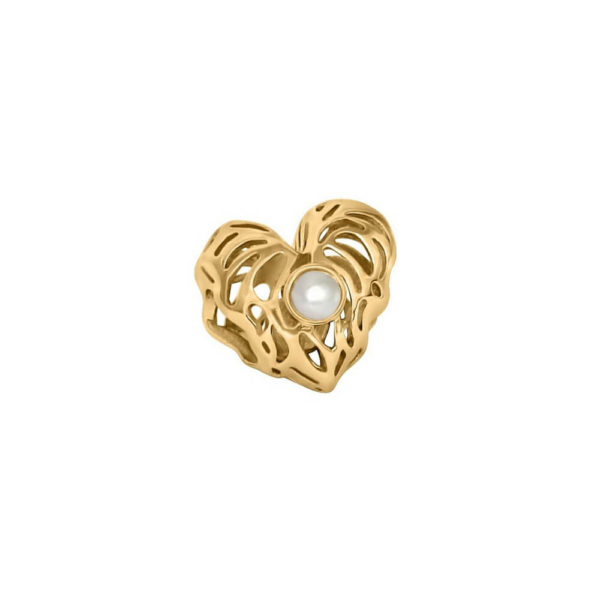 Gold Heart Charm with a delicate Pearl