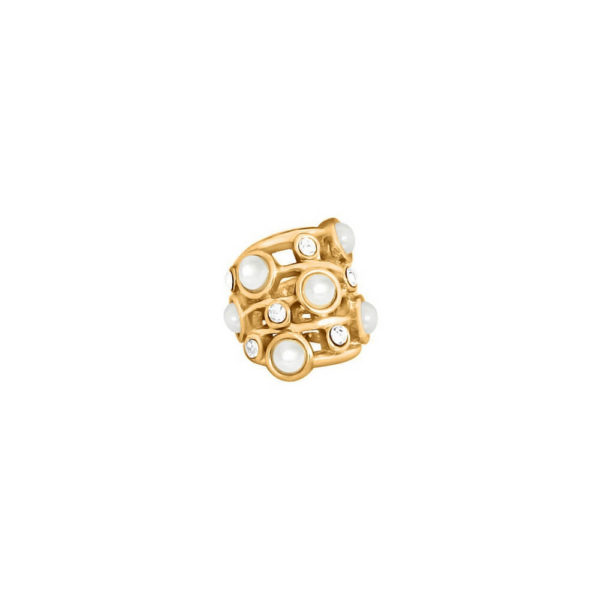 Gold Pearl Ring Charm