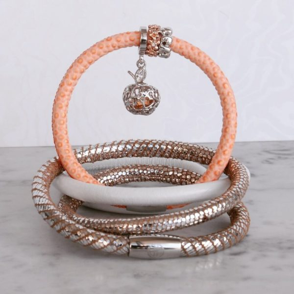 Rose Gold Ring Charm with Peach Lizard Leather Bracelet