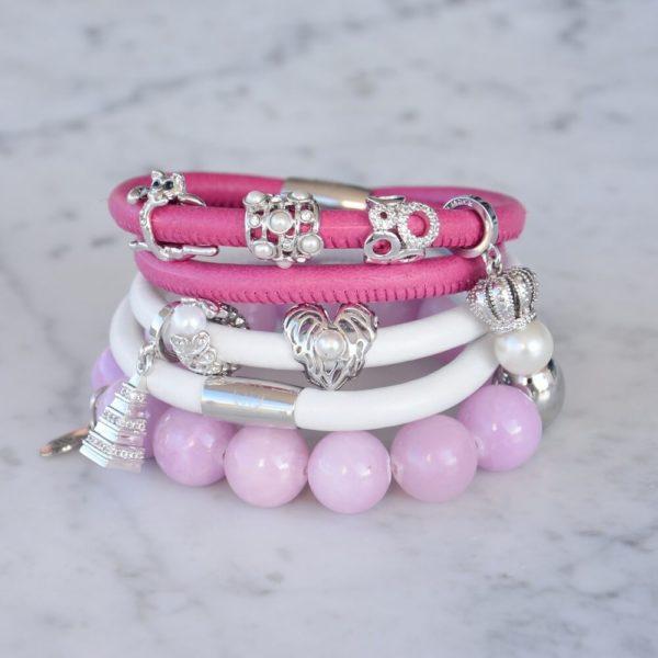 Silver Charms on Pink Bracelets