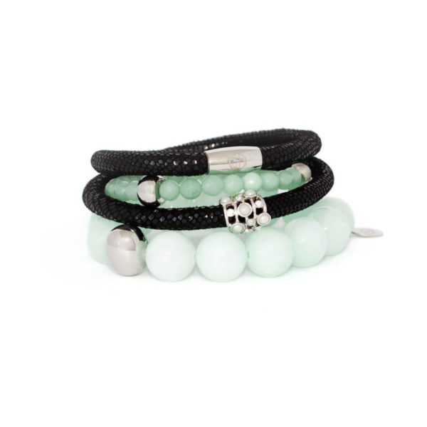 Black Luxe Mint Opulence Bracelet Stack