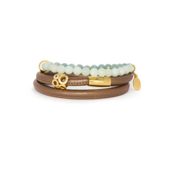 Bronze Agate Infinity Bracelet Stack