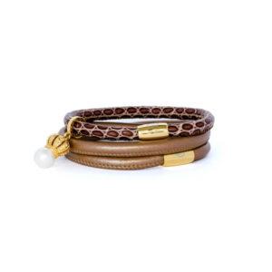 Bronze Choc Queen Pearl Bracelet Stack