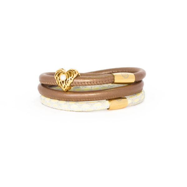 Bronze Cream Gold Heart Bracelet Stack