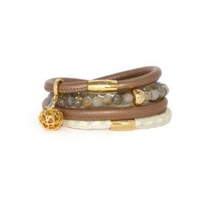 Bronze Cream Love Apple Bracelet Stack