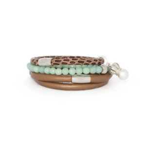 Bronze Mint Pearl Bracelet Stack