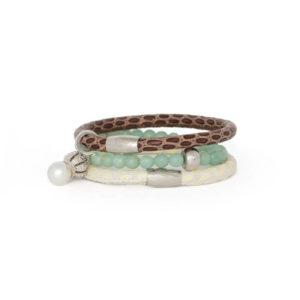 Choc Cream Pearl Bracelet Stack
