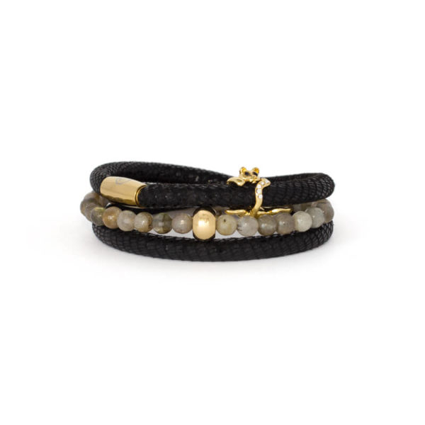 Luxe Black Leather Bracelet Stack