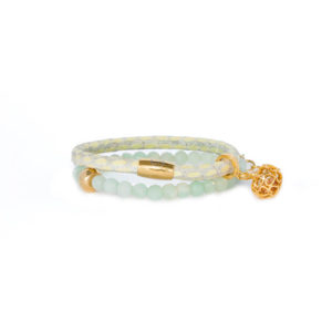 Mint Cream Love Apple Bracelet Stack