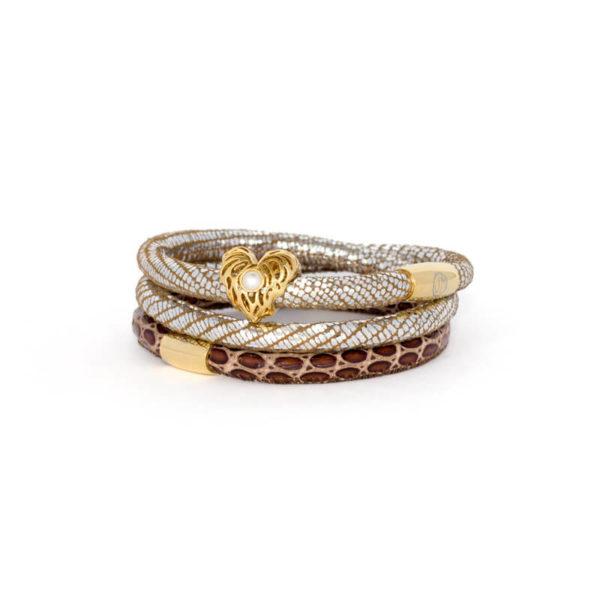 Silver Choc Luxe Heart Bracelet Stack
