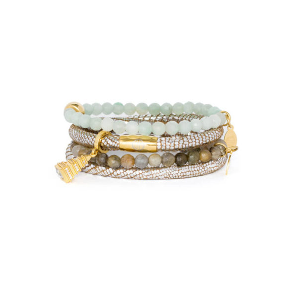 Silver Luxe Agate Pyramid Bracelet Stack