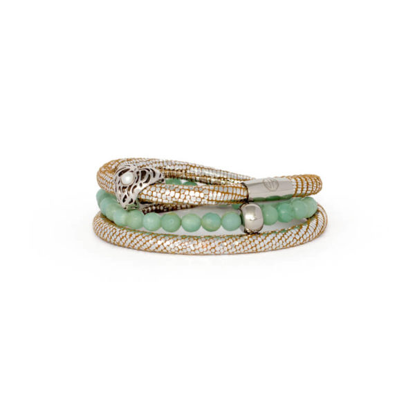 Silver Luxe Mint Heart Bracelet Stack