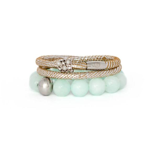 Silver Luxe Mint Opulence Bracelet Stack