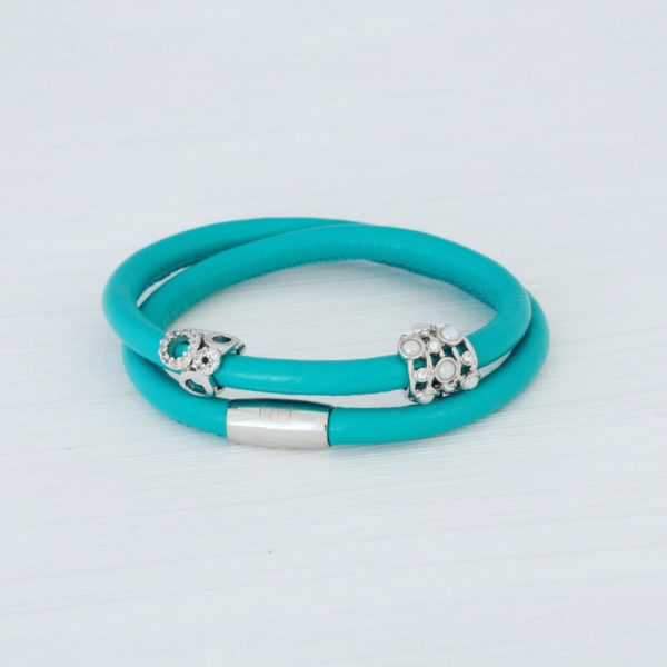 Teal Wrap Leather Bracelet set