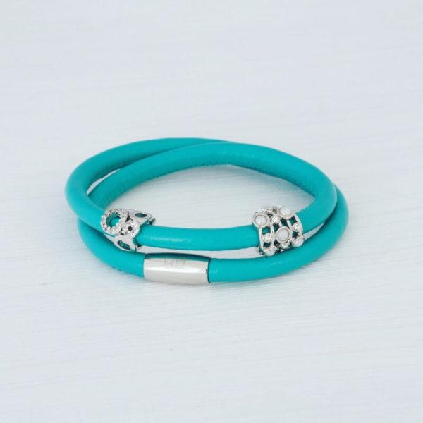 Teal Wrap Leather Bracelet set