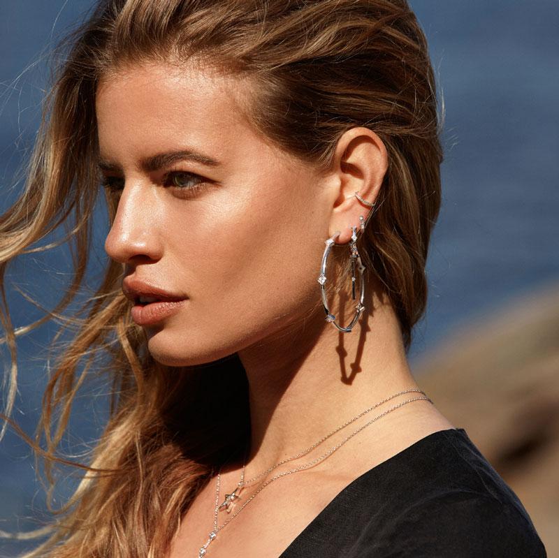 Lady Luck Hoop Earrings Plated In 18k White Gold