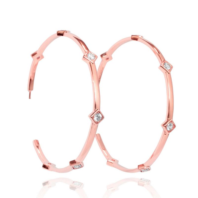 Large Hoop Earrings 14k Rose Gold Plated Jackie Mack Designsjackie Designs